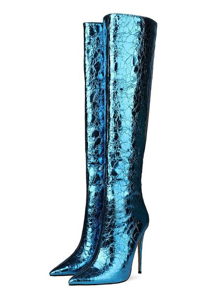 Milanoo Knee-High Boots Dazzling Blue Pointed Toe Stiletto Heel High Heel Night Club Women Boots