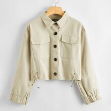 Button Front Pocket Patched Jacket