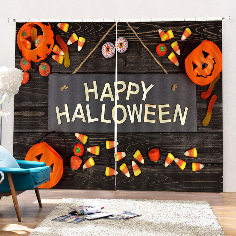 Happy Halloween 3D Printed Blackout Decorative Window Curtains Custom 2 Panels Drapes No Pilling No Fading No off-lining