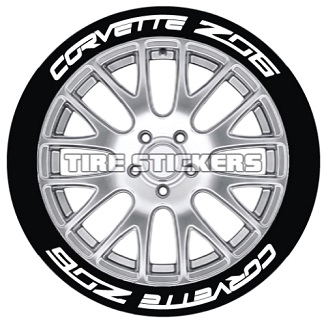 Tire Stickers CORVTTZ06-1416-125-8-Y Permanent Raised Rubber Lettering 'Corvette Z06' Logo - 8 of each -   14