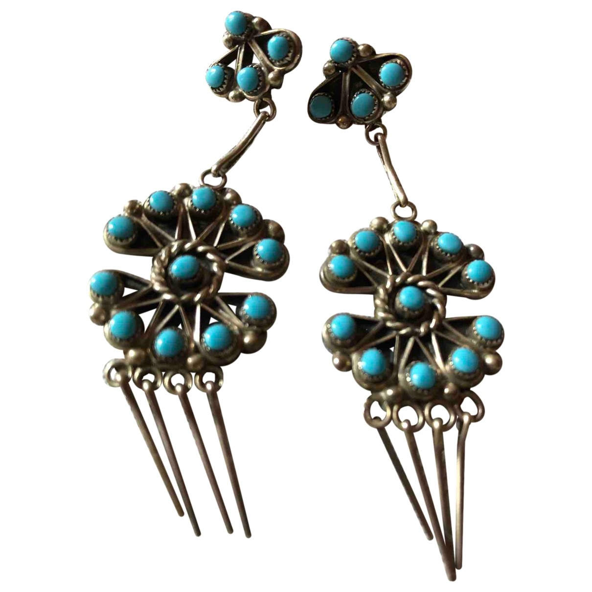 Non Signé / Unsigned Turquoises Silver Silver Earrings for Women \N