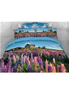 Purple Lavender Field Printed 4-Piece 3D Bedding Sets/Duvet Covers