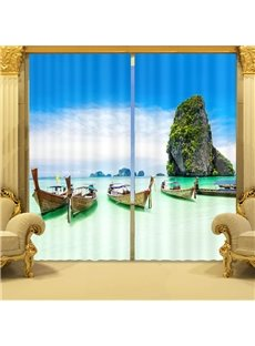 Small Boats in River with High Mountains Natural Scenery 2 Panels Living Room Curtain
