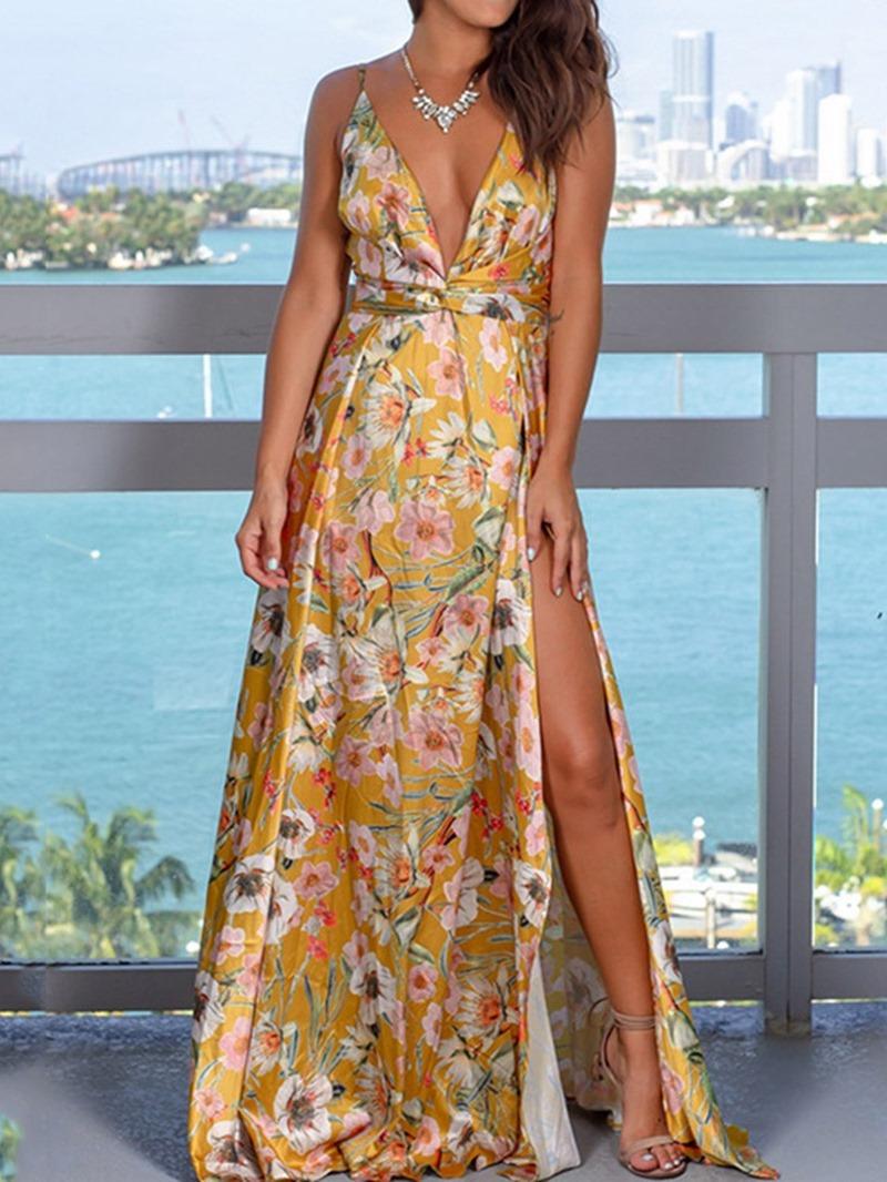 Ericdress Floral Print Split Floor-Length Split Sleeveless Party Dress