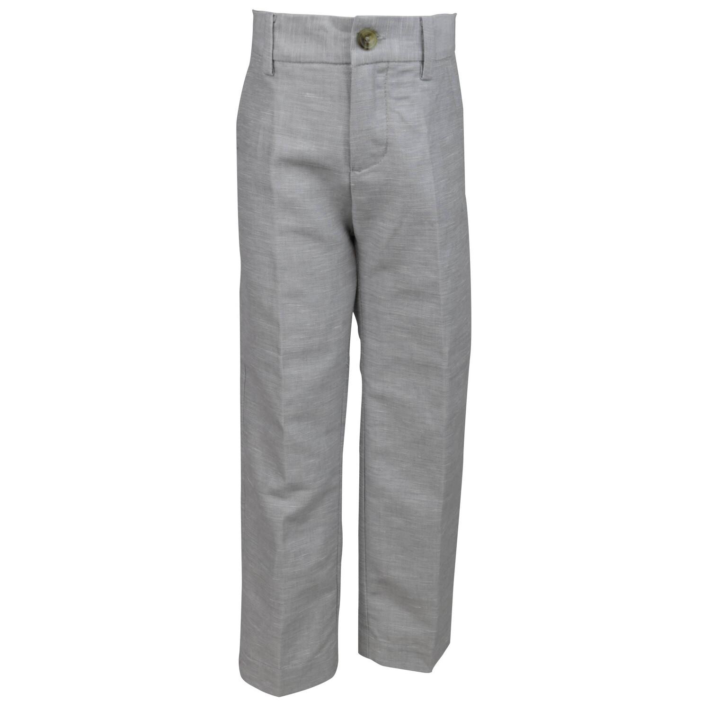Janie And Jack Cloud Grey Linen Pant Pants - 3-6 Months