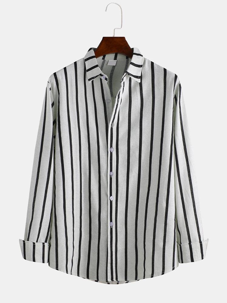 Mens Fashion Striped Vintage Long Sleeve Plain Slim Fit Casual Shirts