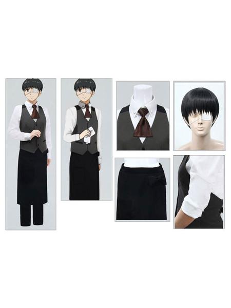 Milanoo Tokyo Ghoul Tokyo Ghoul Kaneki Ken Cosplay Costume Cafe House Waiter Version Halloween