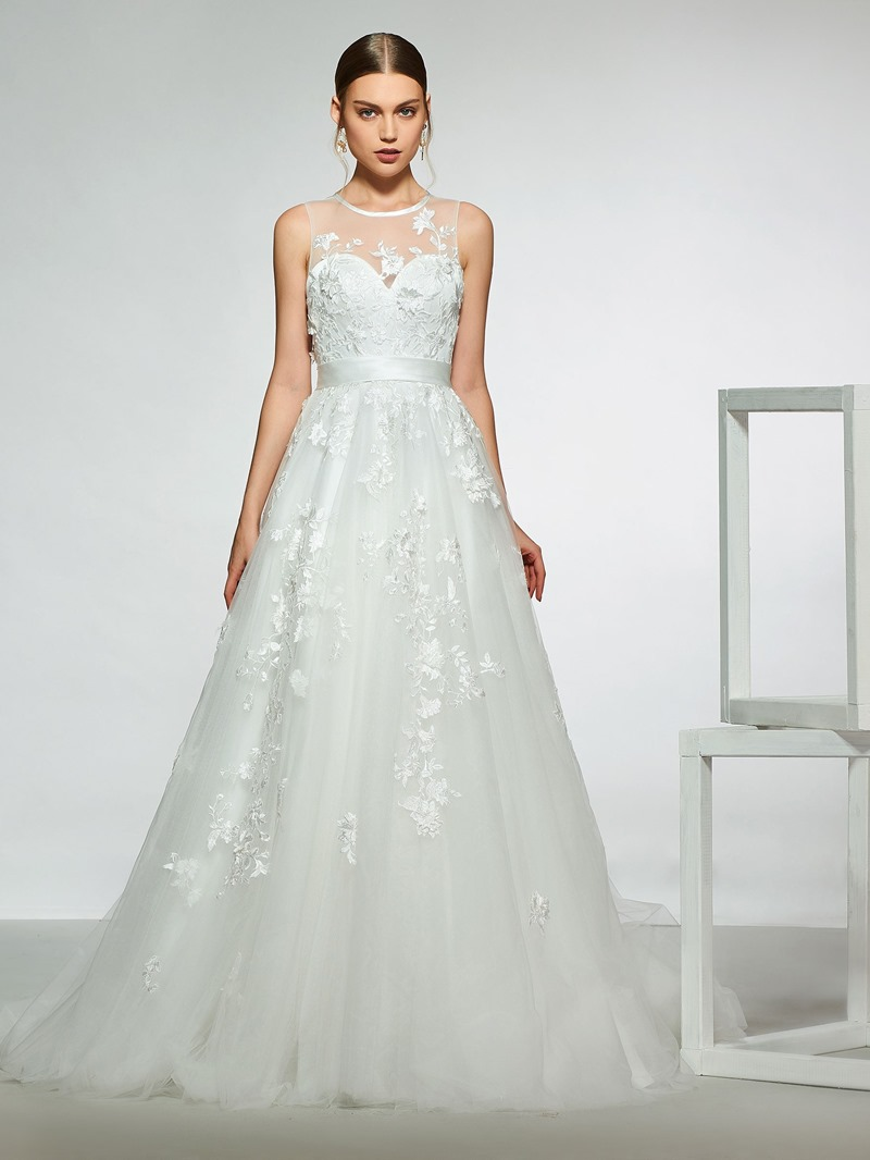 Ericdress Appliques Button Sheer Back Wedding Dress