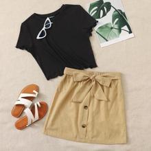 Lettuce Trim Top & Tie Waist Buttoned Front Skirt Set