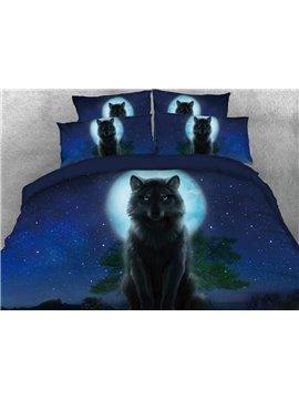 Vivilinen Wolf in the Dark Printed 4-Piece Deep 3D Blue Bedding Sets/Duvet Covers