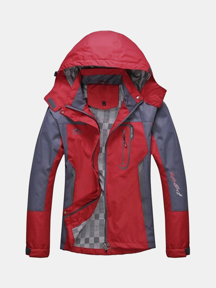 Mens Outdoor Water-repellent Windproof Quick Dry Breathable Hooded Climbing Sport Jacket