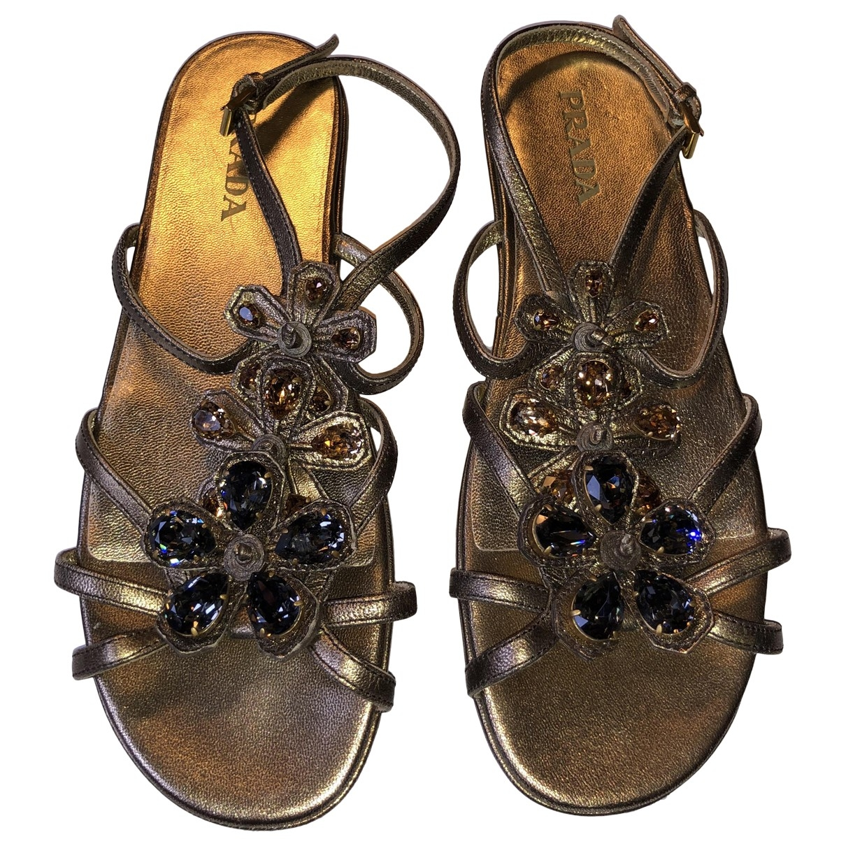 Prada \N Gold Leather Sandals for Women 37.5 EU