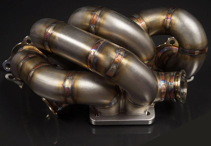 JM Fabrications EVO-EXMANI-11-MVS bottom mount divided T4 tubular exhaust manifold dual Tial 38mm MVS wastegate flange Mitsubishi EVO 7   8   9 2001-2