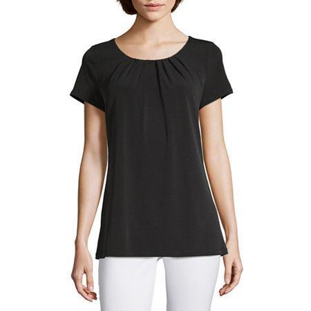 Liz Claiborne Short Sleeve Pleat Neck Tee - Tall, Small Tall , Black