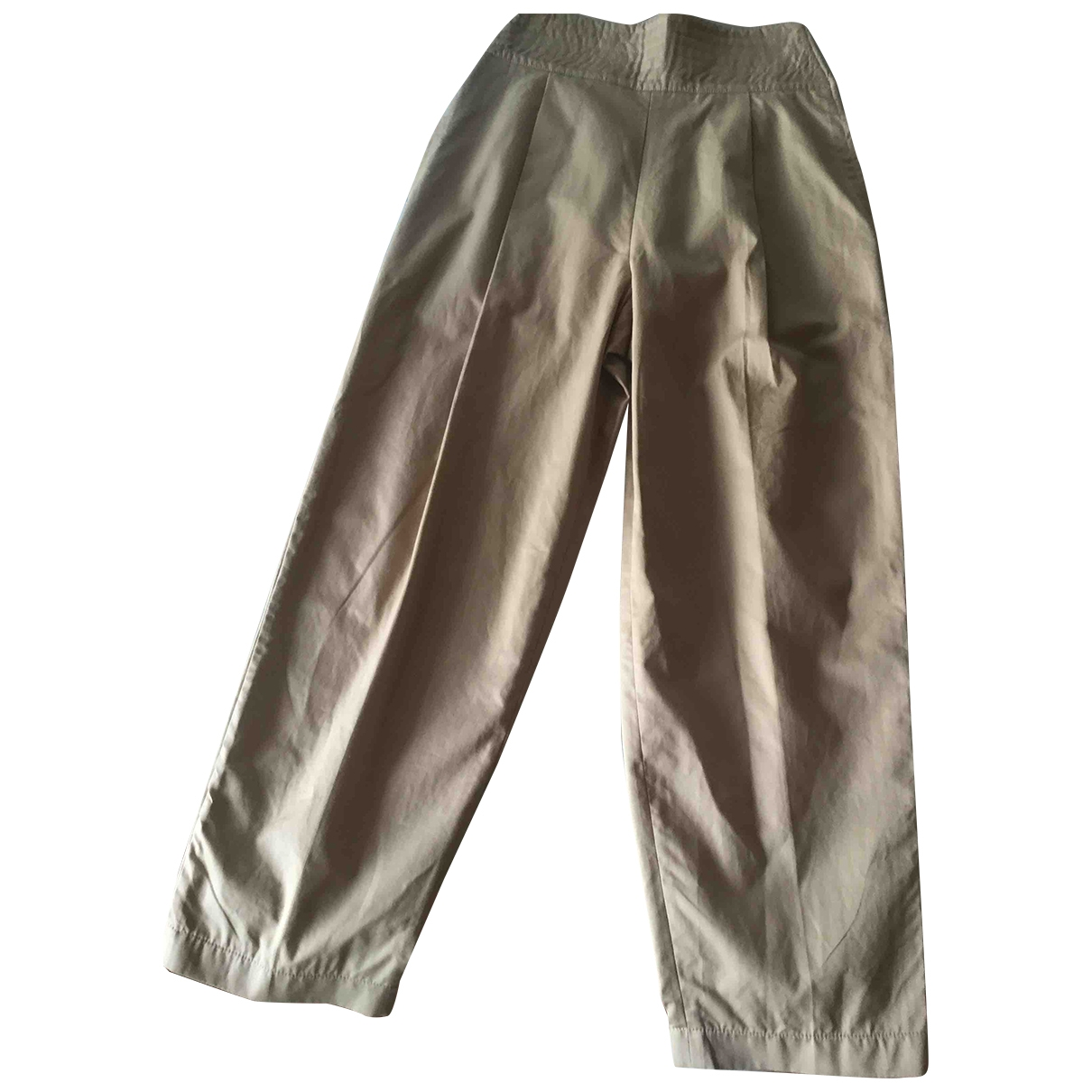 Genny \N Camel Cotton Trousers for Women 44 IT