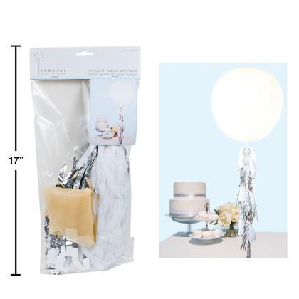 Wedding Jumbo Balloon Tassel Clear with White & Silver, 60x12