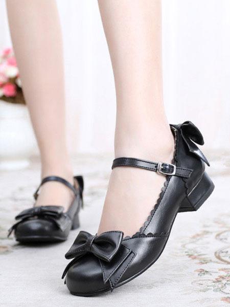 Milanoo Sweet Lolita Shoes Bow Round Toe Puppy Heel Black Lolita Mary Jane Shoes