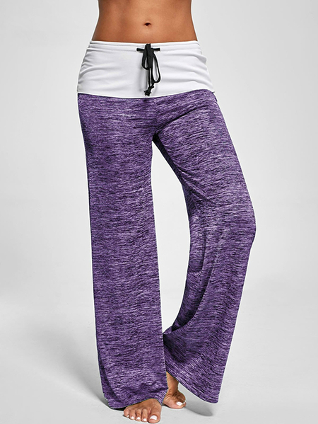Yoins Active Wide Leg Stretch Waistband Pants With Stitching Design in Purple