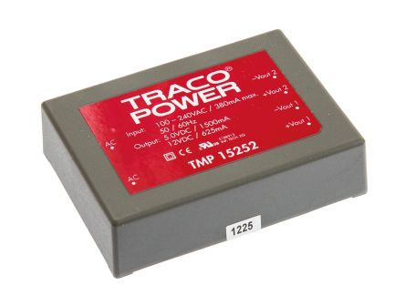 TRACOPOWER , 15W Embedded Switch Mode Power Supply SMPS, 5 V dc, 12 V dc, Encapsulated