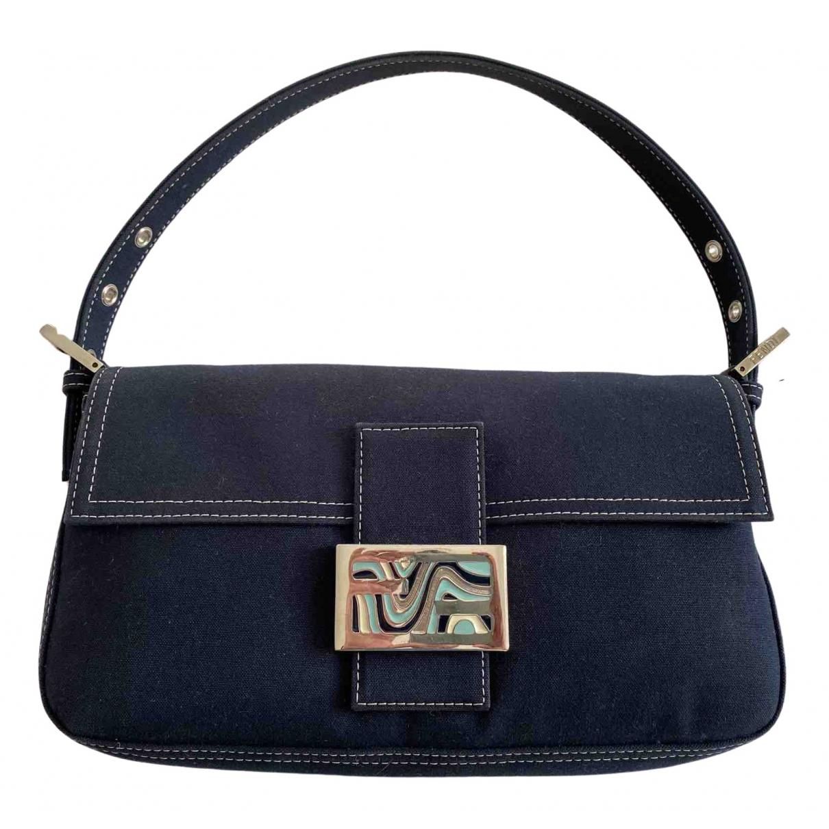 Fendi Baguette Navy Cloth handbag for Women \N