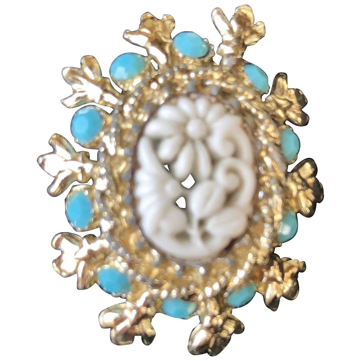 Non Signé / Unsigned Motifs Floraux Gold Ceramic Pins & brooches for Women \N