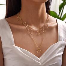 1pc Horn & Rhinestone Decor Tassel Charm Layered Necklace