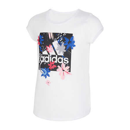 adidas Big Girls Embellished Scoop Neck Short Sleeve Graphic T-Shirt, Medium (10-12) , White
