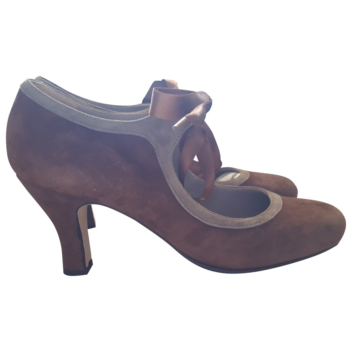 Non Signé / Unsigned \N Brown Suede Heels for Women 39 IT