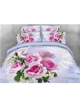 Pink Rose Printed 4-Piece 3D Bedding Sets/Duvet Covers