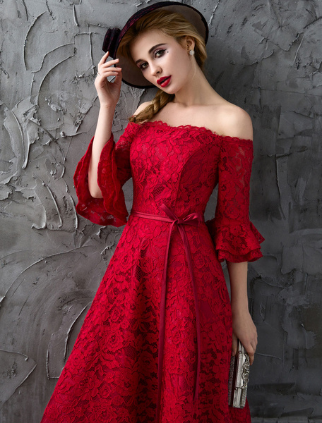Milanoo Lace Prom Dresses Long Off The Shoulder Bell Sleeve Burgundy Ribbon Sash Homecoming Dresses