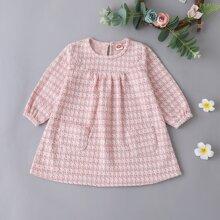Baby Girl Pocket Button Tweed Dress