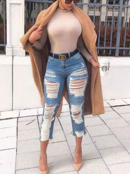 Milanoo Cropped Ripped Jeans Blue Denim Pants