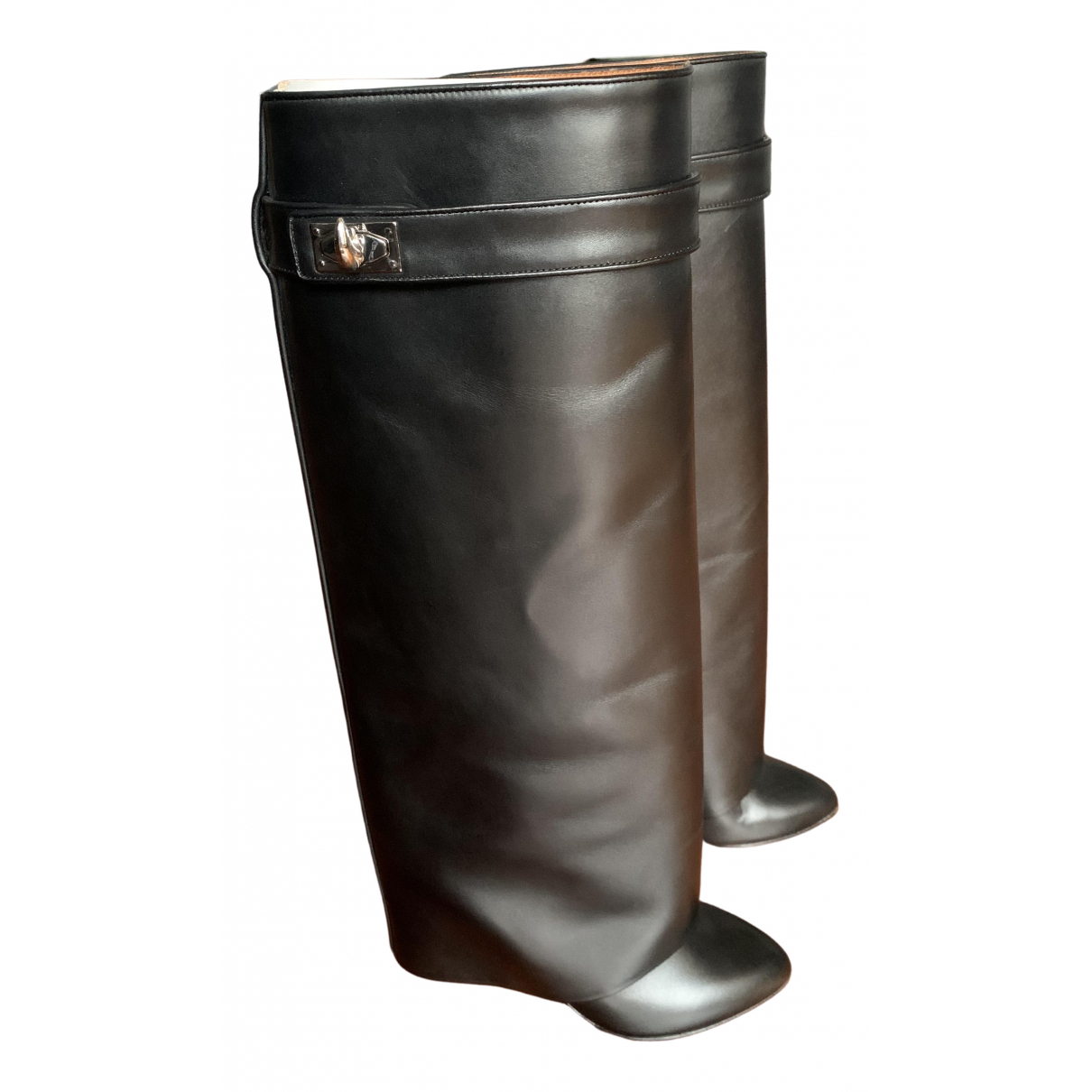 Givenchy Shark Black Leather Boots for Women 38 EU