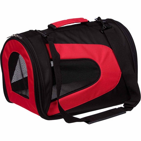 The Pet Life Airline Approved Folding Zippered Sporty Mesh Pet Carrier, One Size , Red