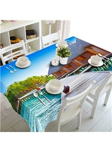 Natural Bridge and Coconut Tree Pattern 3D Tablecloth