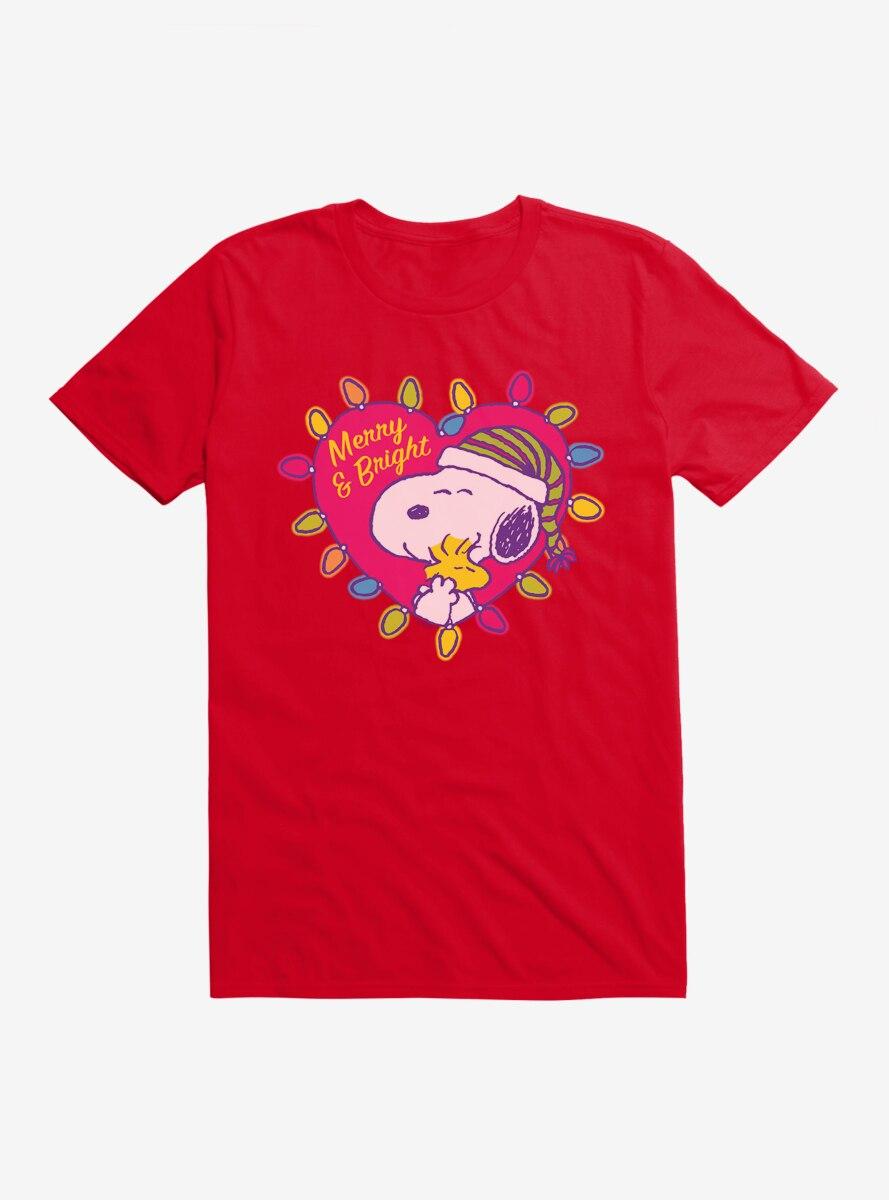 Peanuts Retro Pop Snoopy Woodstock Christmas Heart T-Shirt
