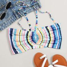 Multi-Striped Drawstring Tie Back Halter Top