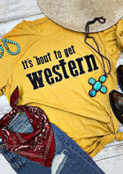 It's Bout to Get Western T-Shirt Tee - Yellow