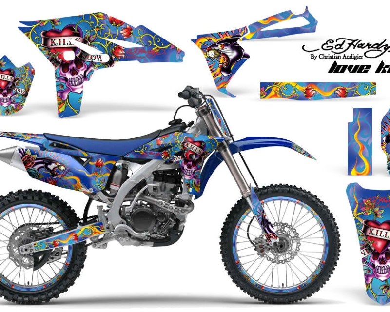 AMR Racing Graphics MX-NP-YAM-YZ250F-10-13-EDHLK U Kit Decal Sticker Wrap + # Plates For Yamaha YZ250F 2010-2013 EDHLK BLUE