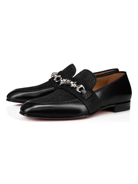 Milanoo Dress Shoes For Men Round Toe Black Metal Details Slip-On Cowhide Prom Shoes