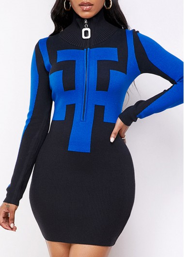 Black Dresses Long Sleeve Geometric Pattern Quarter Zip Sweater Dress - M