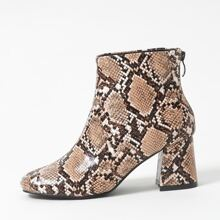 Snakeskin Graphic Chunky Heeled Ankle Boots