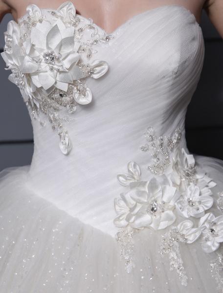 Milanoo Ivory Floor-Length Sweetheart Ball Gown Flower Wedding Dress With Beading