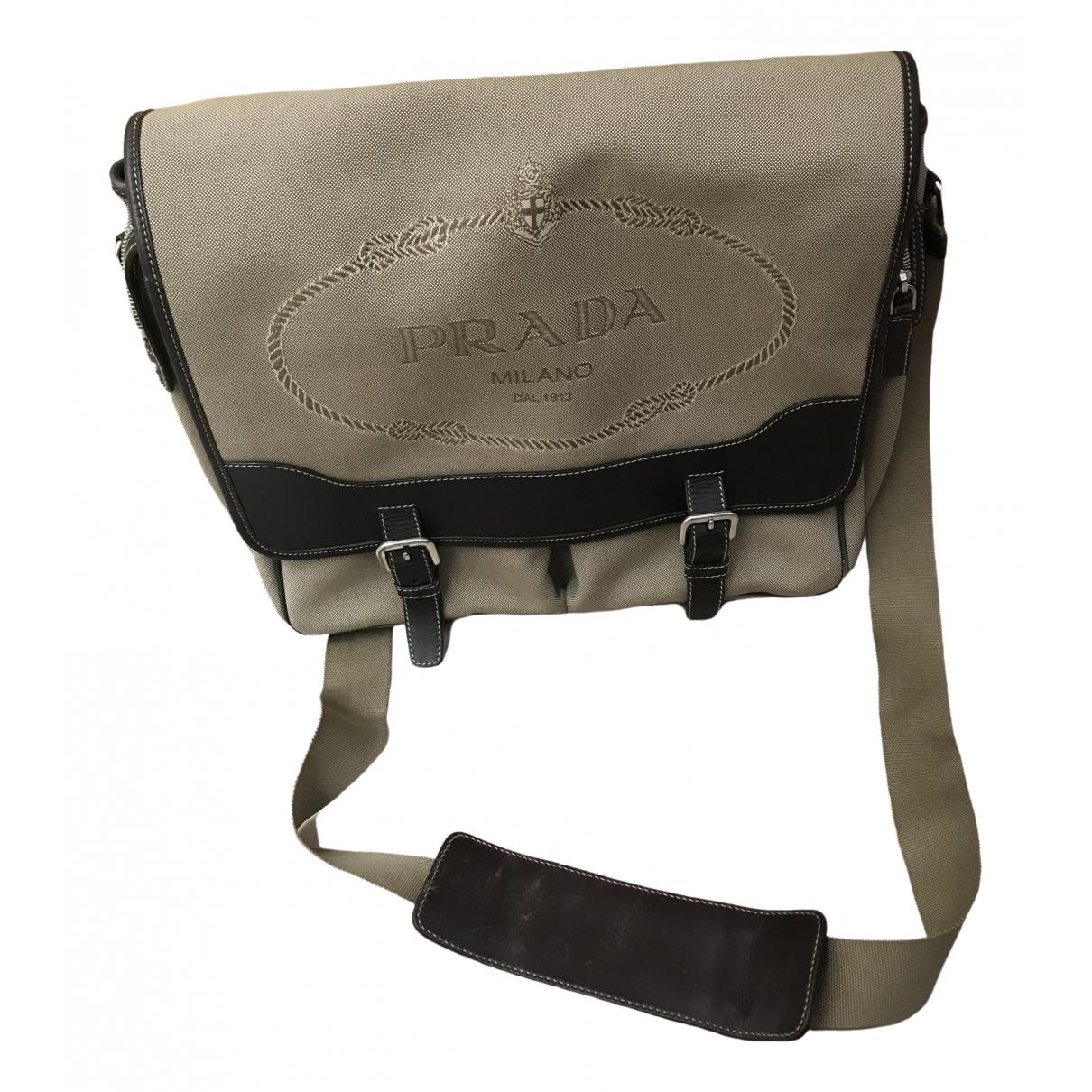Prada \N Beige Cloth bag for Men \N