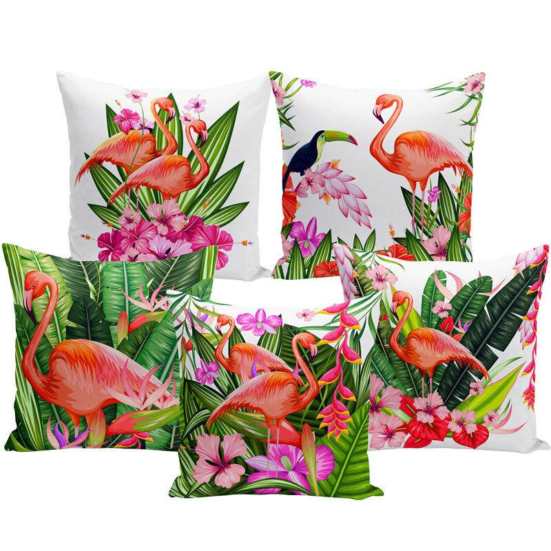 Watercolor Flamingo Cushion Cover Home Fabric Sofa Cushion Cover Model Room Pillow