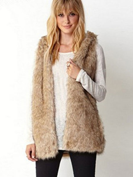 Milanoo Light Tan Vest Faux Fur Polyester Chic Vest for Women