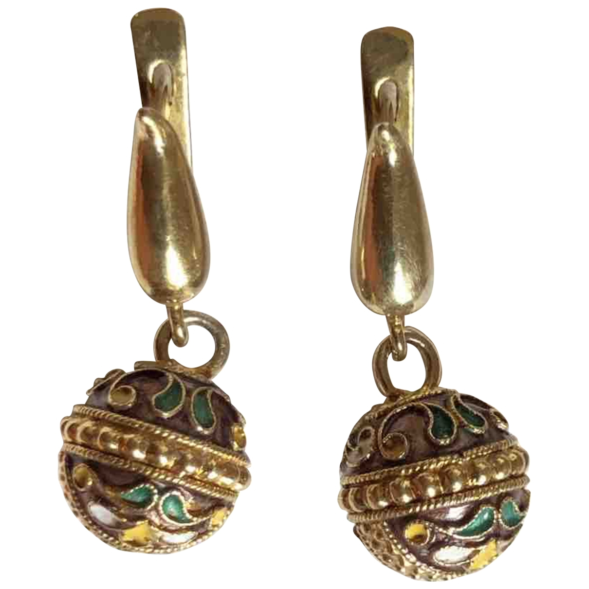 Non Signé / Unsigned Motifs Ethniques Gold Silver Earrings for Women \N