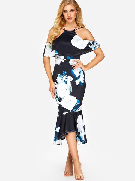 Yoins Black Backless Random Floral Print Halter Cold Shoulder Flounced Hem Dress