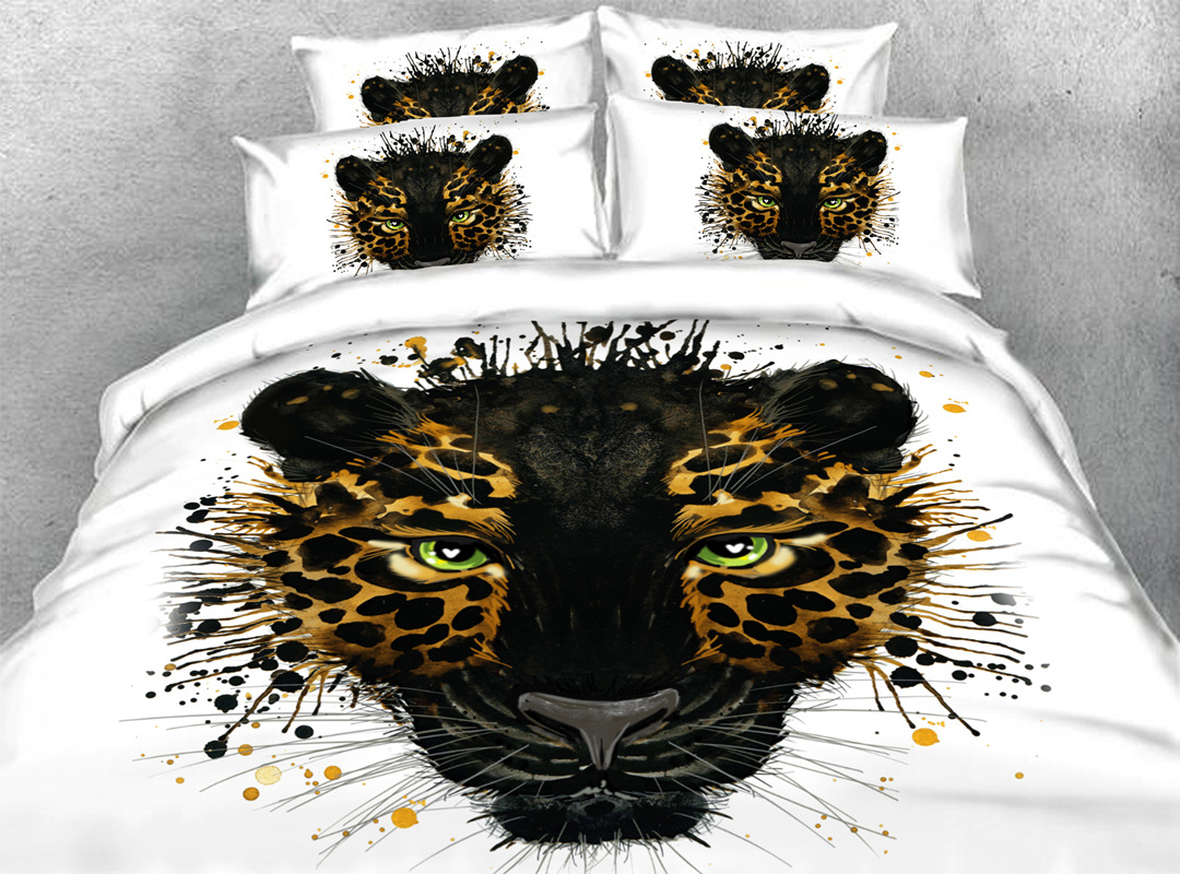 3D Leopard 4-piece No-fading Bedding Sets Durable Animal Print Bedding Zipper Duvet Cover with Non-slip Ties