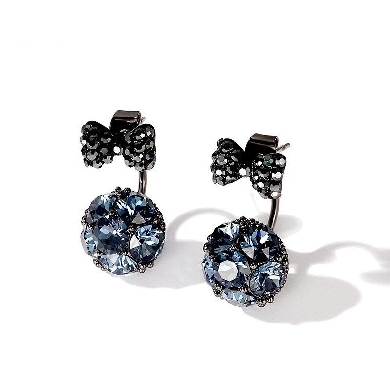 925 Sterling Silver Earrings Full Rhinestone Bowknot Zircon Ball Stud Earrings Gift for Women